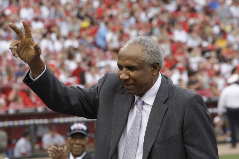 Hall of famer Frank Robinson prior to major league baseballs civil rights game, Saturday, May 15, 2010, in Cincinnati. (AP Photo/Al Behrman)