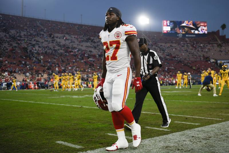 Kansas City Chiefs running back Kareem Hunt walks off the field prior to an NFL football game against the Los Angeles Rams Monday, Nov. 19, 2018, in Los Angeles. (AP Photo/Kelvin Kuo)