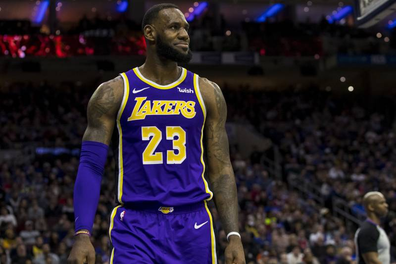c9fe9bb04 Los Angeles Lakers  LeBron James looks on during the second half of an NBA  basketball