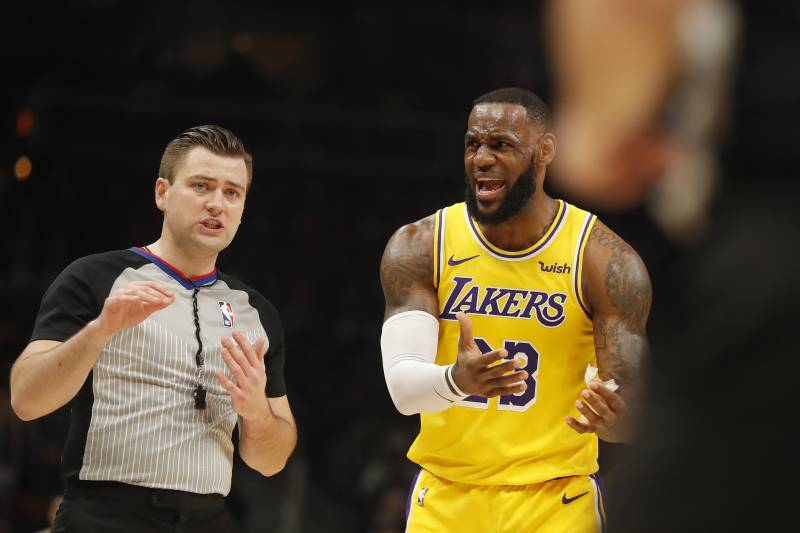 583cd0b7da1 Los Angeles Lakers forward LeBron James (23) argues with an official during  the first