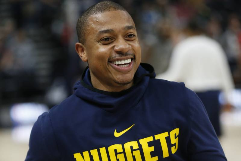 30528fd55459 Denver Nuggets guard Isaiah Thomas (0) workouts before the start of their  NBA basketball
