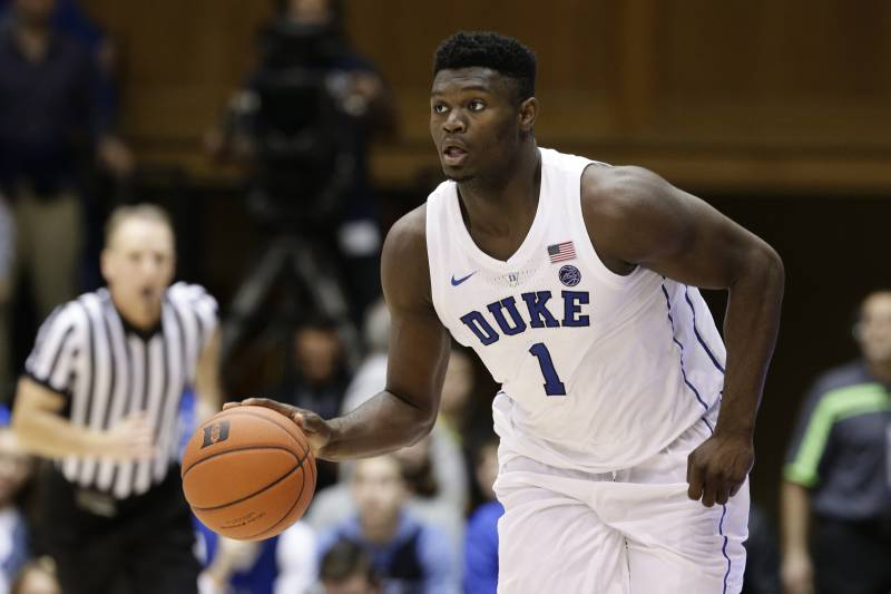 lowest price 797fa 195ff Duke s Zion Williamson dribbles against Eastern Michigan during the second  half of an NCAA college basketball