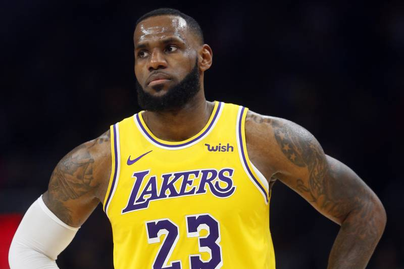 fab7140c7eb Los Angeles Lakers forward LeBron James is shown during the second half of  an NBA basketball