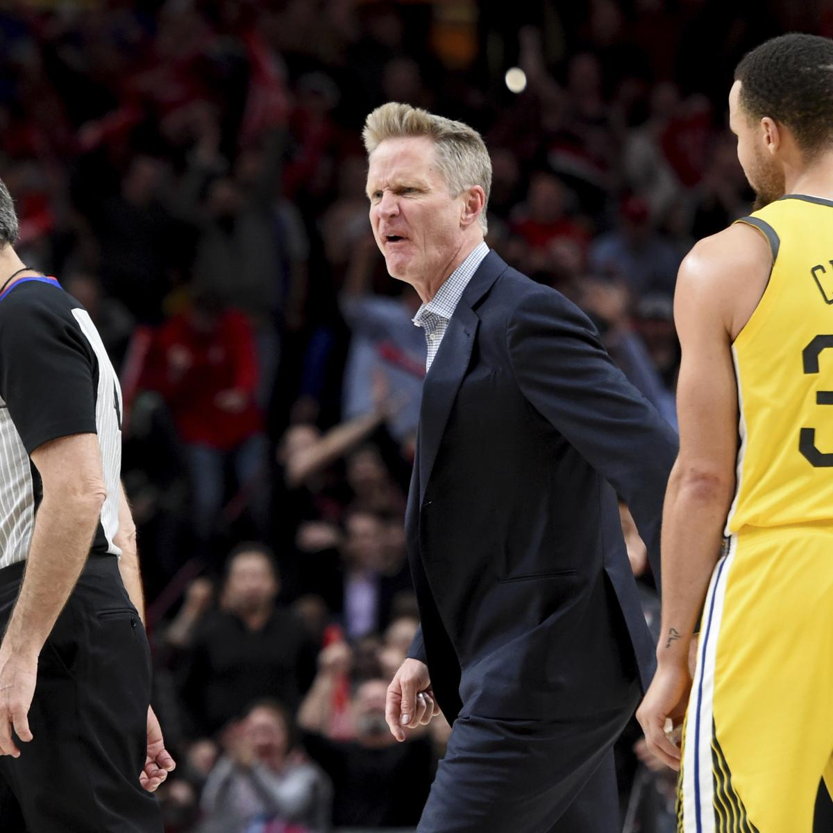 Portland Trail Blazers Coach: Report: Warriors' Steve Kerr Fined $25K For Screaming At