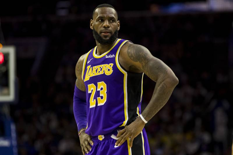77dc55635ca8 Los Angeles Lakers  LeBron James looks on during the second half of an NBA  basketball