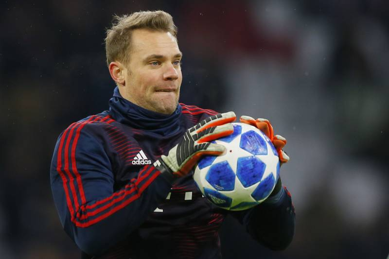 9b479538a Bayern goalkeeper Manuel Neuer warms up prior to the Champions League group  E soccer match between