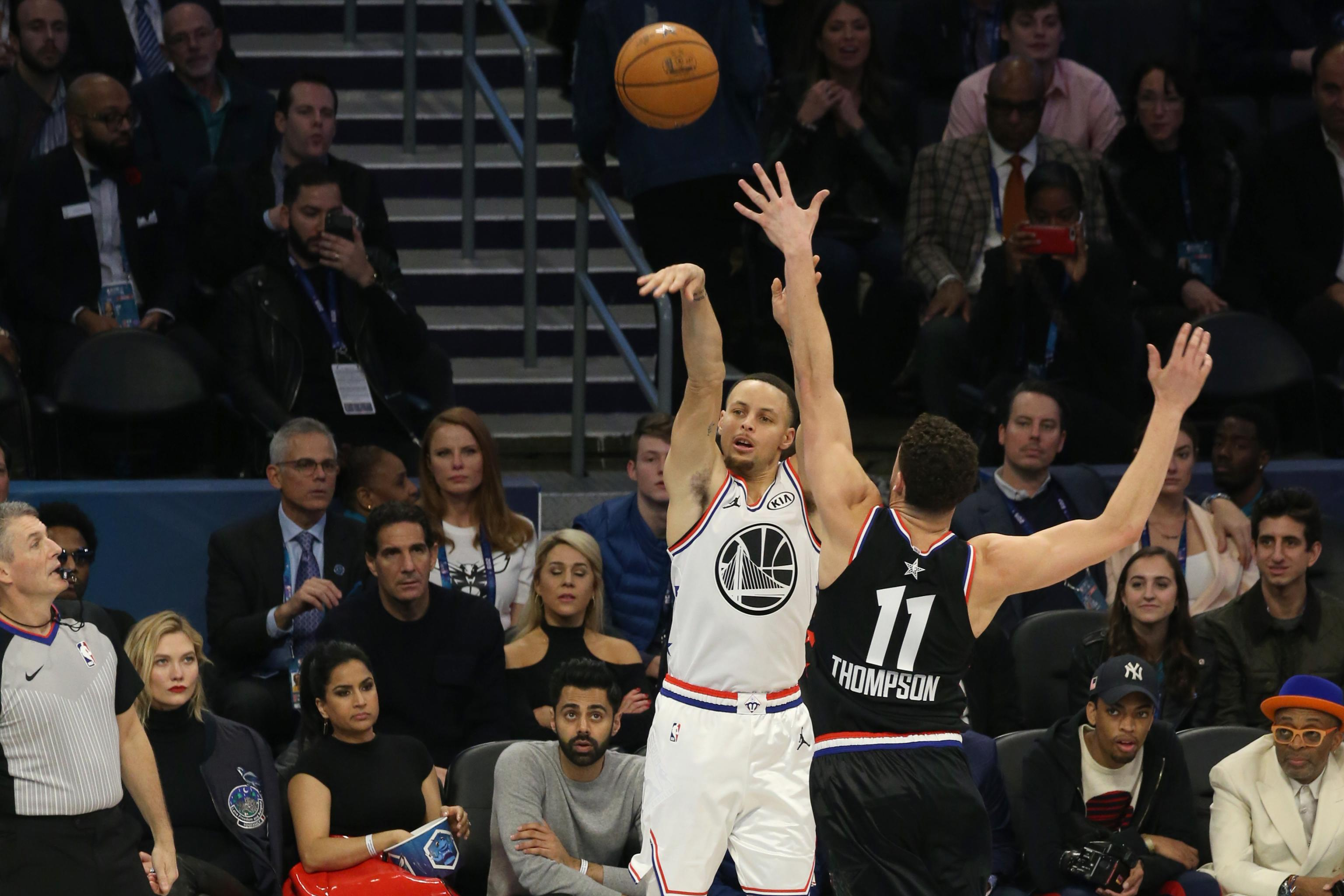8b5c29b645f Watch Stephen Curry Swish 4-Point Play over Klay Thompson in NBA All-Star  Game
