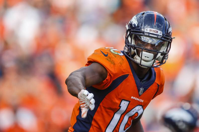 d174e978550 Denver Broncos wide receiver Emmanuel Sanders (10) signals against the  Oakland Raiders during the