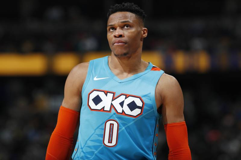15dad87d8927 Oklahoma City Thunder guard Russell Westbrook looks at the scoreboard as  time runs out in the