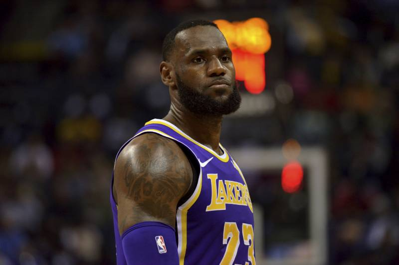 ba199296ab37 Los Angeles Lakers forward LeBron James (23) stands on the court in the  first