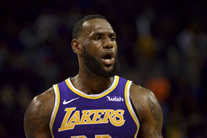 cd8ae2bf2c5 Los Angeles Lakers forward LeBron James reacts in the second half of an NBA  basketball game