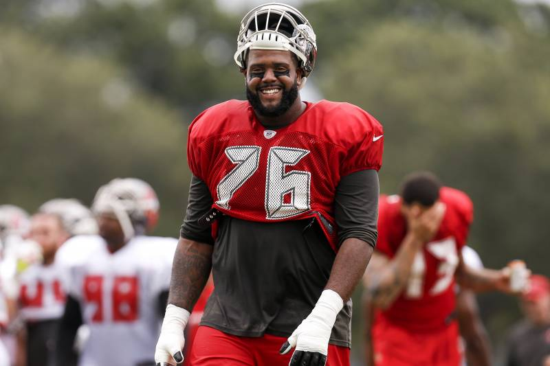 TAMPA, FL - JULY 30: Tackle Donovan Smith #76 of the Tampa Bay Buccaneers during Training Camp at One Buc Place on July 30, 2017 in Tampa, Florida. (Photo by Don Juan Moore/Getty Images)