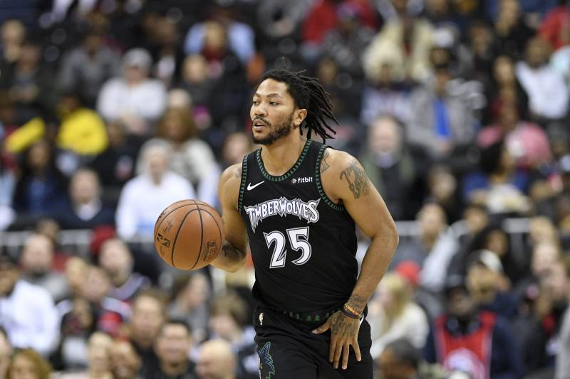 1a639a65f Minnesota Timberwolves guard Derrick Rose (25) dribbles the ball during the  first half of