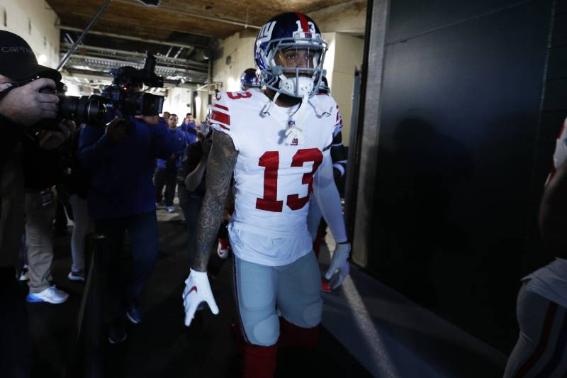 New York Giants wide receiver Odell Beckham (13) moves onto the field before an NFL football game against the Philadelphia Eagles, Sunday, Nov. 25, 2018, in Philadelphia. (AP Photo/Chris Szagola)