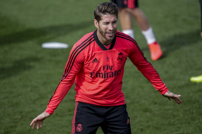 66d6817e6c5 SPAIN - MARCH 4  Sergio Ramos of Real Madrid during the Training Real Madrid