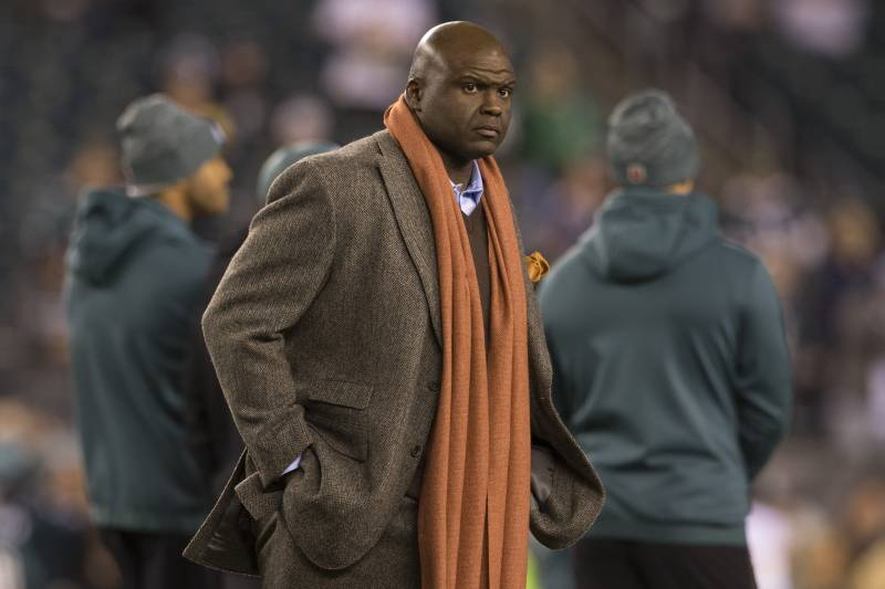 PHILADELPHIA, PA - DECEMBER 03: ESPN commentator Booger McFarland walks off the field prior to the game between the Washington Redskins and Philadelphia Eagles at Lincoln Financial Field on December 3, 2018 in Philadelphia, Pennsylvania. (Photo by Mitchell Leff/Getty Images)