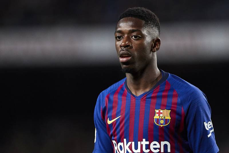 d884621f477 BARCELONA, SPAIN - MARCH 09: Ousmane Dembele of FC Barcelona looks on  during the
