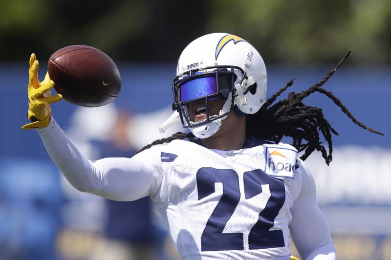fcb7c3bf4fb Los Angeles Chargers  Jason Verrett catches a pass during practice at the  NFL football team s