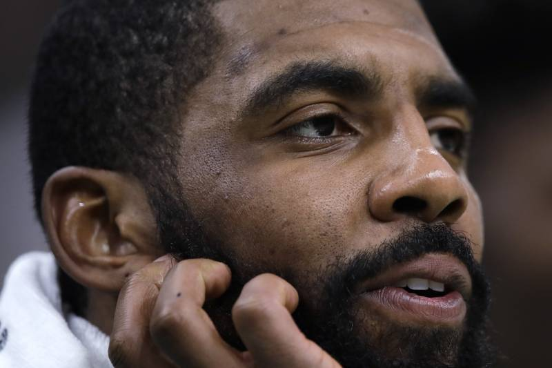 7a633e51cb9 Boston Celtics guard Kyrie Irving during the first quarter of an NBA  basketball game in Boston