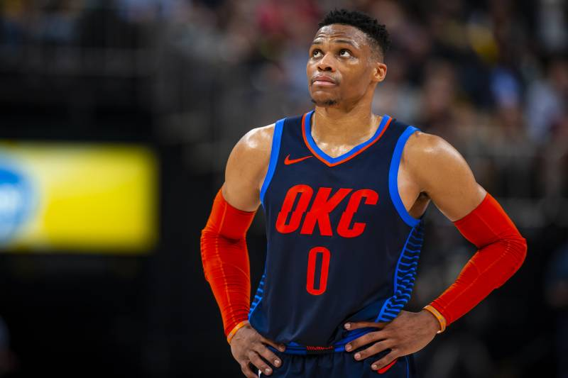 INDIANAPOLIS, IN - MARCH 14:  Russell Westbrook #0 of the Oklahoma City Thunder looks on against the Indiana Pacers on March 14, 2019 at Bankers Life Fieldhouse in Indianapolis, Indiana. NOTE TO USER: User expressly acknowledges and agrees that, by downloading and or using this Photograph, user is consenting to the terms and conditions of the Getty Images License Agreement.