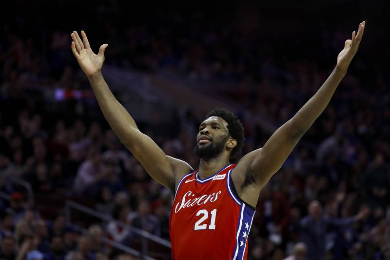 Philadelphia 76ers' Joel Embiid celebrates after a basket during the second half of an NBA basketball game against the Sacramento Kings, Friday, March 15, 2019, in Philadelphia. Philadelphia won 123-114.