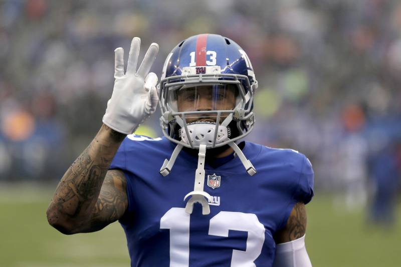 New York Giants wide receiver Odell Beckham gestures prior to an NFL football game against the Chicago Bears, Sunday, Dec. 2, 2018, in East Rutherford, N.J. (AP Photo/Seth Wenig)