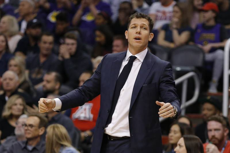 d9eff24f86d Los Angeles Lakers head coach Luke Walton in the second half during an NBA  basketball game
