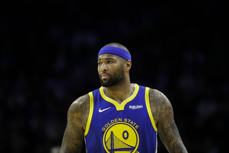 Golden State Warriors' DeMarcus Cousins in action during an NBA basketball game against the Philadelphia 76ers, Saturday, March 2, 2019, in Philadelphia. (AP Photo/Matt Slocum)