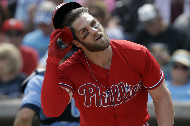 Bryce Harper Exits Phillies' Game vs. Padres with Dehydration