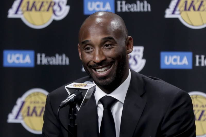 7db5d304f24 Former Los Angeles Laker Kobe Bryant talks during a news conference before  an NBA basketball game