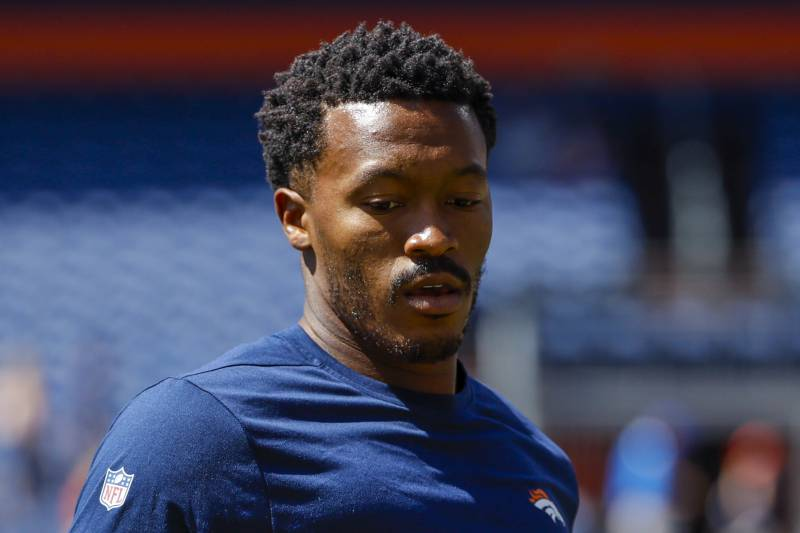 eb263bcc690 Denver Broncos wide receiver Demaryius Thomas (88) looks on before an NFL  football game