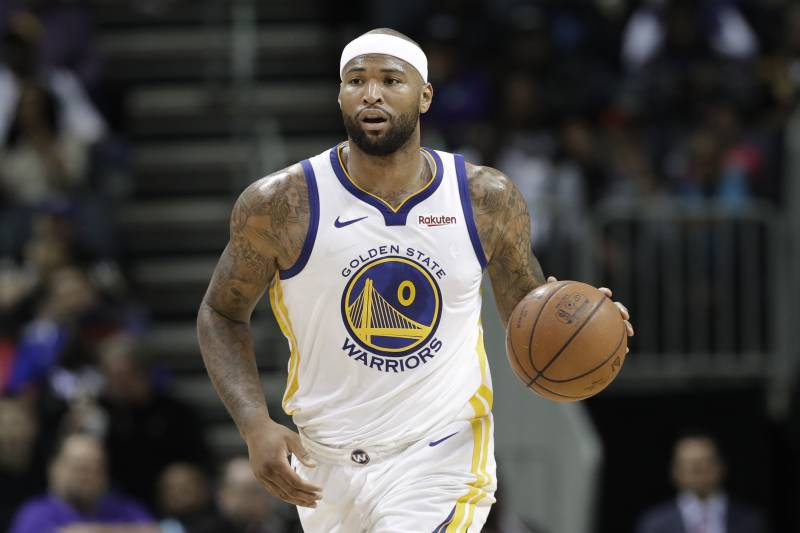 68efab550e2 Golden State Warriors  DeMarcus Cousins (0) brings the ball up court during  the
