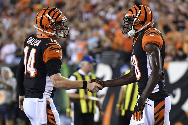super popular 6531f 4daf4 Cincinnati Bengals wide receiver A.J. Green, right, celebrates with  quarterback Andy Dalton (14