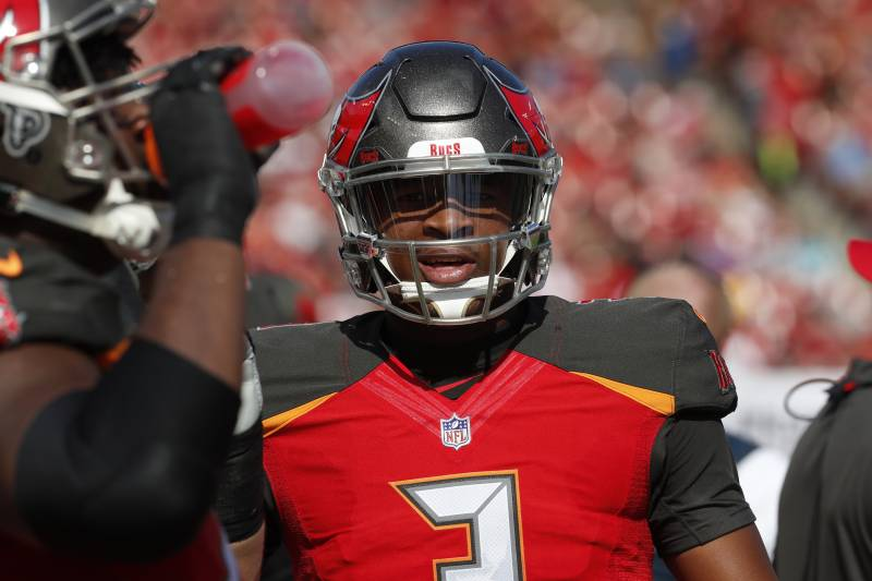 Tampa Bay Buccaneers quarterback Jameis Winston (3) during the first half of an NFL football game against the Atlanta Falcons Sunday, Dec. 30, 2018, in Tampa, Fla. (AP Photo/Mark LoMoglio)