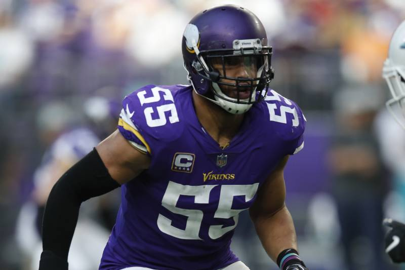 e0f5a85b962 Minnesota Vikings outside linebacker Anthony Barr (55) lines up against the  Miami Dolphins during