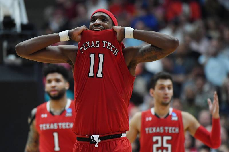 ANAHEIM, CALIFORNIA - MARCH 30: Tariq Owens #11 of the Texas Tech Red Raiders reacts after being called for an offensive foulo against the Gonzaga Bulldogs during the second half of the 2019 NCAA Men's Basketball Tournament West Regional at Honda Center on March 30, 2019 in Anaheim, California. (Photo by Harry How/Getty Images)