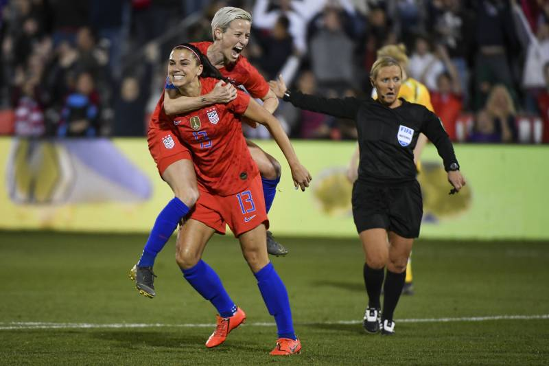 e9a30aa1b19 United States Beats Australia 5-3 as Alex Morgan Scores 100th Career ...