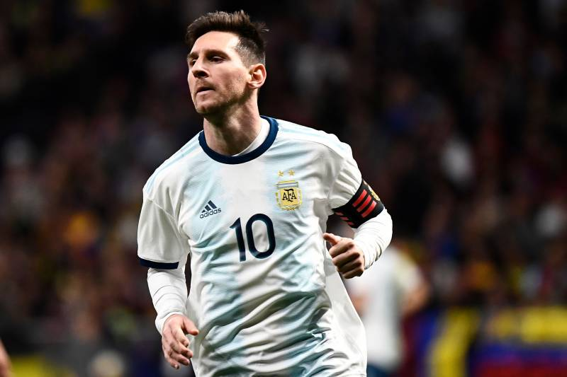 24299ffe4 Argentina's forward Lionel Messi reacts during an international friendly  football match between Argentina and Venezuela at