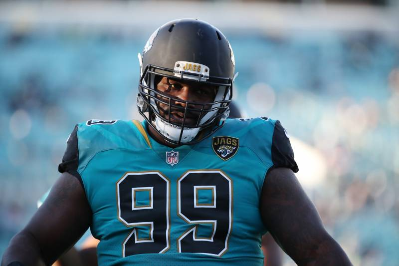 JACKSONVILLE, FL - DECEMBER 10:   Marcell Dareus #99 of the Jacksonville Jaguars warms up on the field prior to the start of their game against the Seattle Seahawks at EverBank Field on December 10, 2017 in Jacksonville, Florida.  (Photo by Logan Bowles/Getty Images)