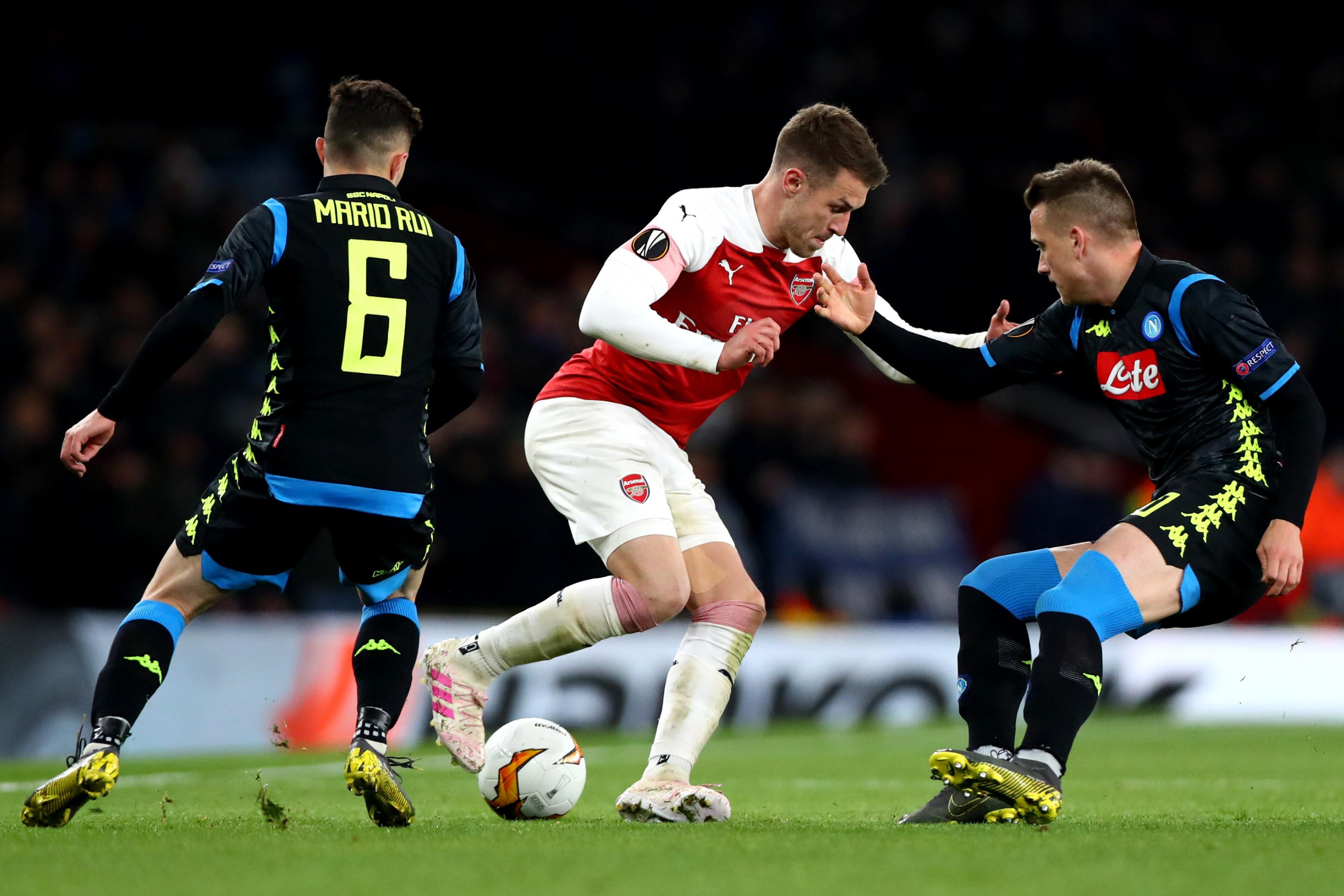 Image result for images of Aaron Ramsey against Napoli