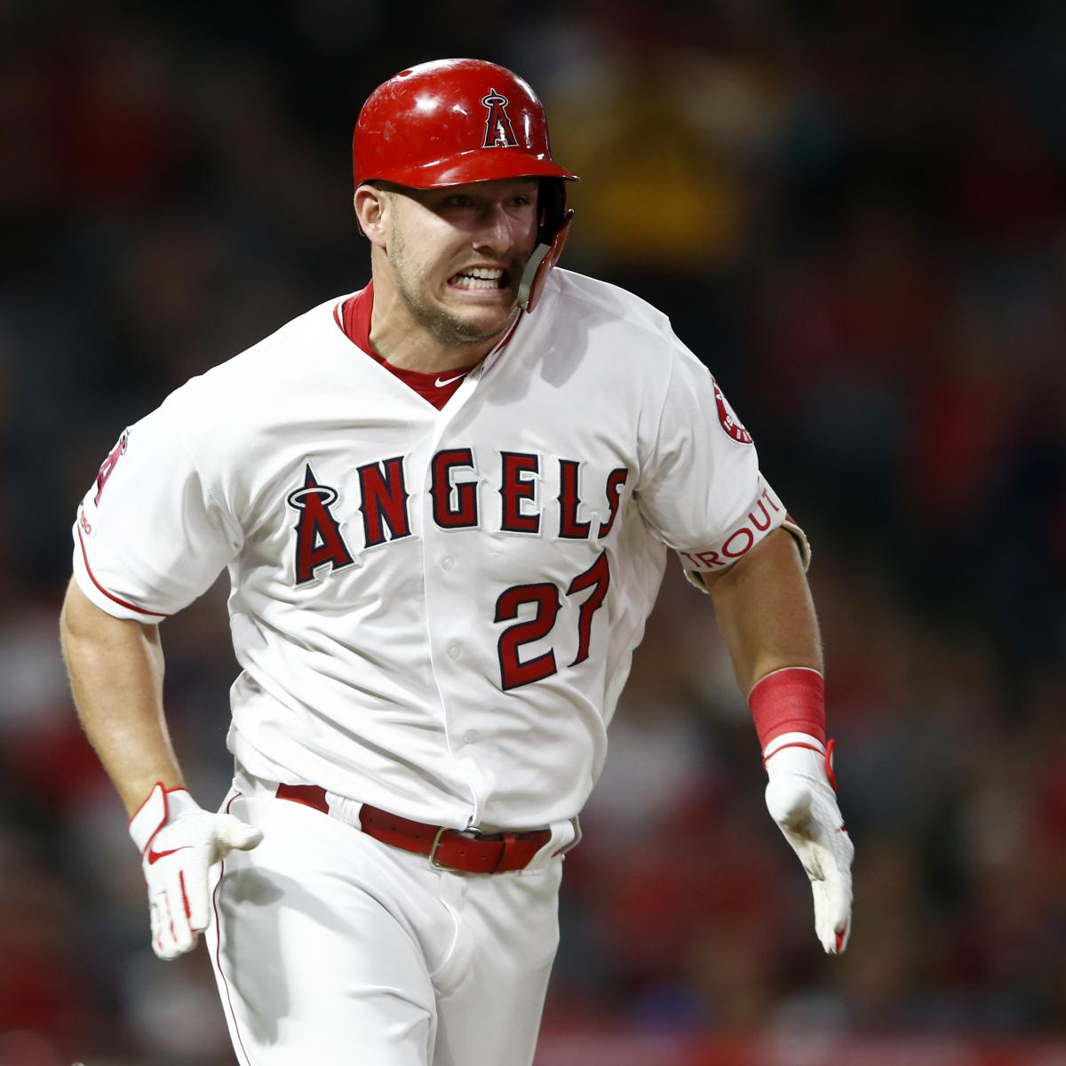 """Los Angeles Angels outfielder Mike Trout remains sidelined by a right groin strain. The Angels announced Friday that tests showed a """"reduced amount of swelling,"""" and Trout will be reevaluated Sunday..."""
