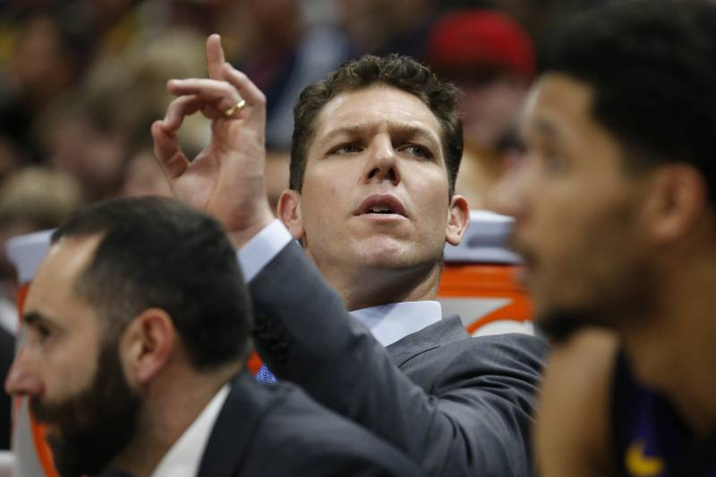 820f301ef8a Los Angeles Lakers head coach Luke Walton sits on the bench during the  second half of