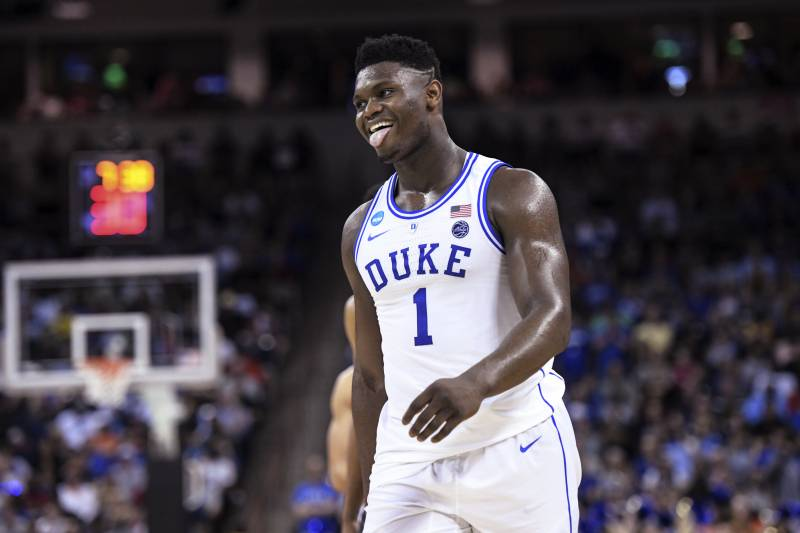 Duke forward Zion Williamson reacts after getting called for a foul against Central Florida during the second half of a second-round game in the NCAA men's college basketball tournament Sunday, March 24, 2019, in Columbia, S.C. Duke won 77-76. (AP Photo/Sean Rayford)