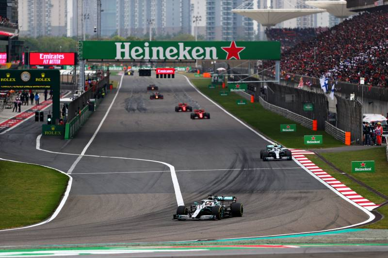 SHANGHAI, CHINA - APRIL 14: Lewis Hamilton of Great Britain driving the (44) Mercedes AMG Petronas F1 Team Mercedes W10 on track during the F1 Grand Prix of China at Shanghai International Circuit on April 14, 2019 in Shanghai, China. (Photo by Dan Istitene/Getty Images)