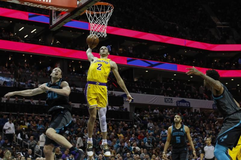 bfac6305f Los Angeles Lakers guard Lonzo Ball (2) dunks against Charlotte Hornets  center Cody Zeller