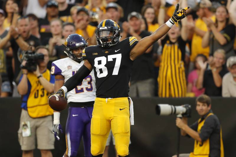 7c5016c51 Iowa tight end Noah Fant (87) celebrates in front of Northern Iowa  defensive back