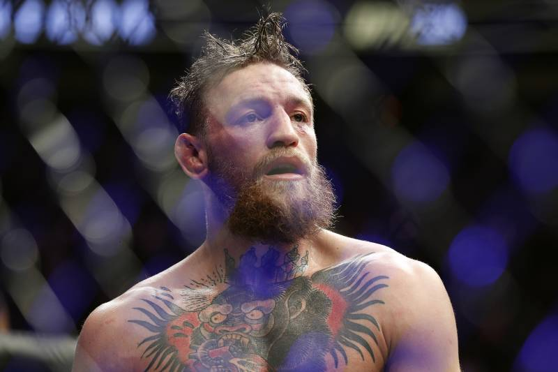 Conor McGregor reacts after losing to Khabib Nurmagomedov in a lightweight title mixed martial arts bout at UFC 229 in Las Vegas, Saturday, Oct. 6, 2018. Nurmagomedov won the fight by submission during the fourth round to retain the title.