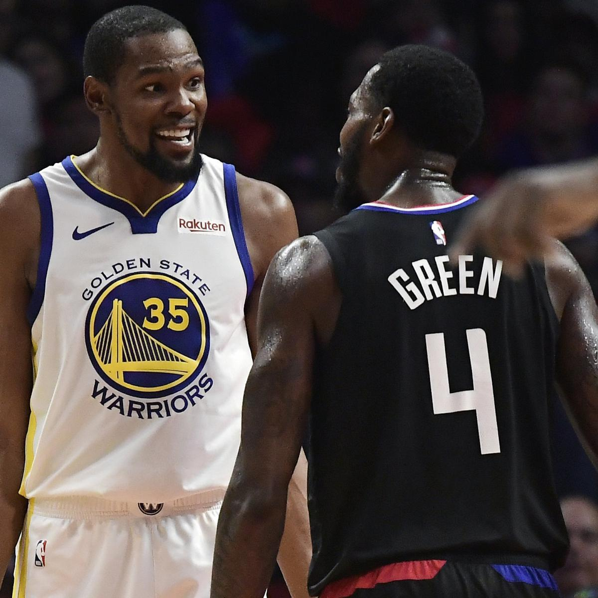 The technical fouls called on Golden State Warriors star Kevin Durant and Los Angeles Clippers power forward JaMychal Green on Thursday were rescinded by the NBA , according to Chris Haynes of Yahoo Sports...