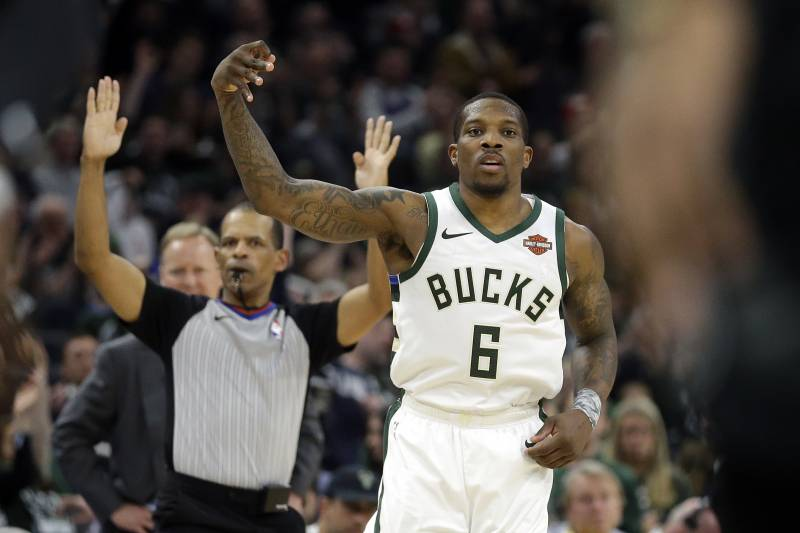 07b1f523470 Milwaukee Bucks  Eric Bledsoe reacts after making a shot during the second  half of Game
