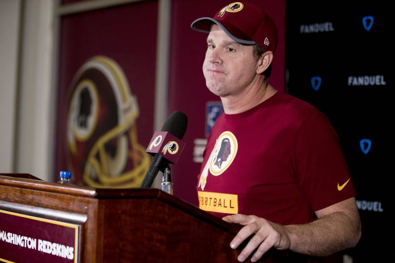 bae2c7d71 Washington Redskins head coach Jay Gruden listens to a reporter's question  during a news conference at